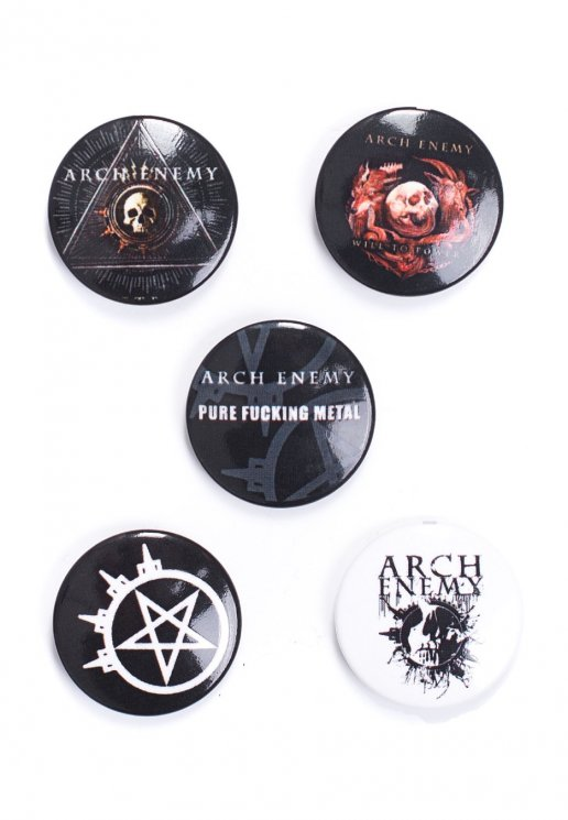 Arch Enemy Pack Of 5 Button Set Official Death Metal