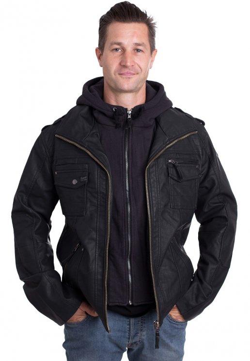 Jacket Leather Brandit Black Brandit Rock c35Rjq4LAS