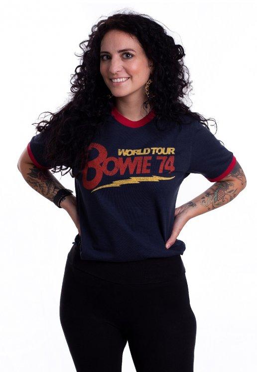 David Bowie World Tour 74 Navy Ringer T Shirt