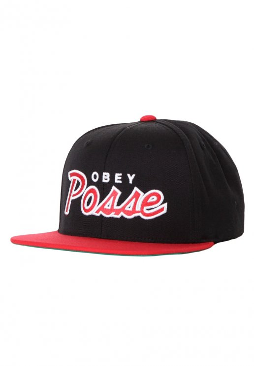 8042c29e7df Obey - Obey Posse Black Red Snapback - Cap - Streetwear Shop -  Impericon.com US