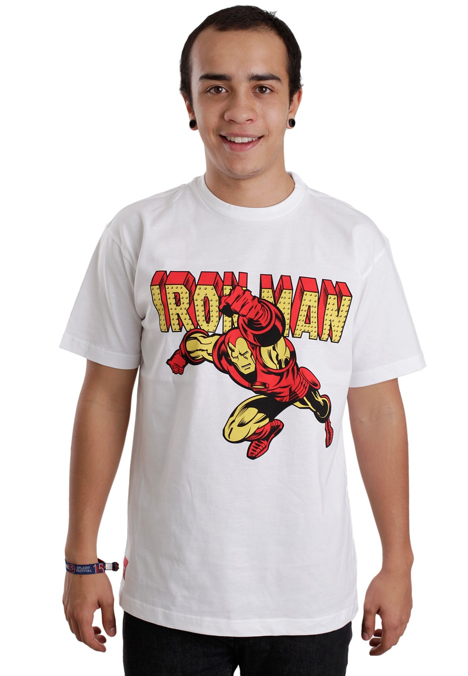 Addict iron man vintage logo white t shirt impericon for Old logo t shirts