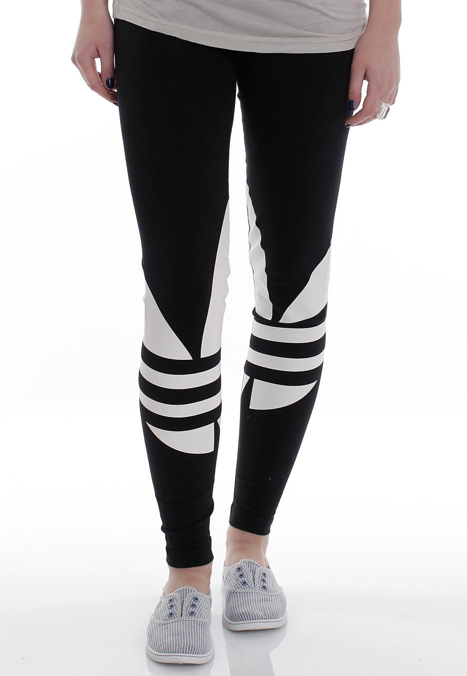 Adidas Trefoil Logo Black Running White Leggings Streetwear