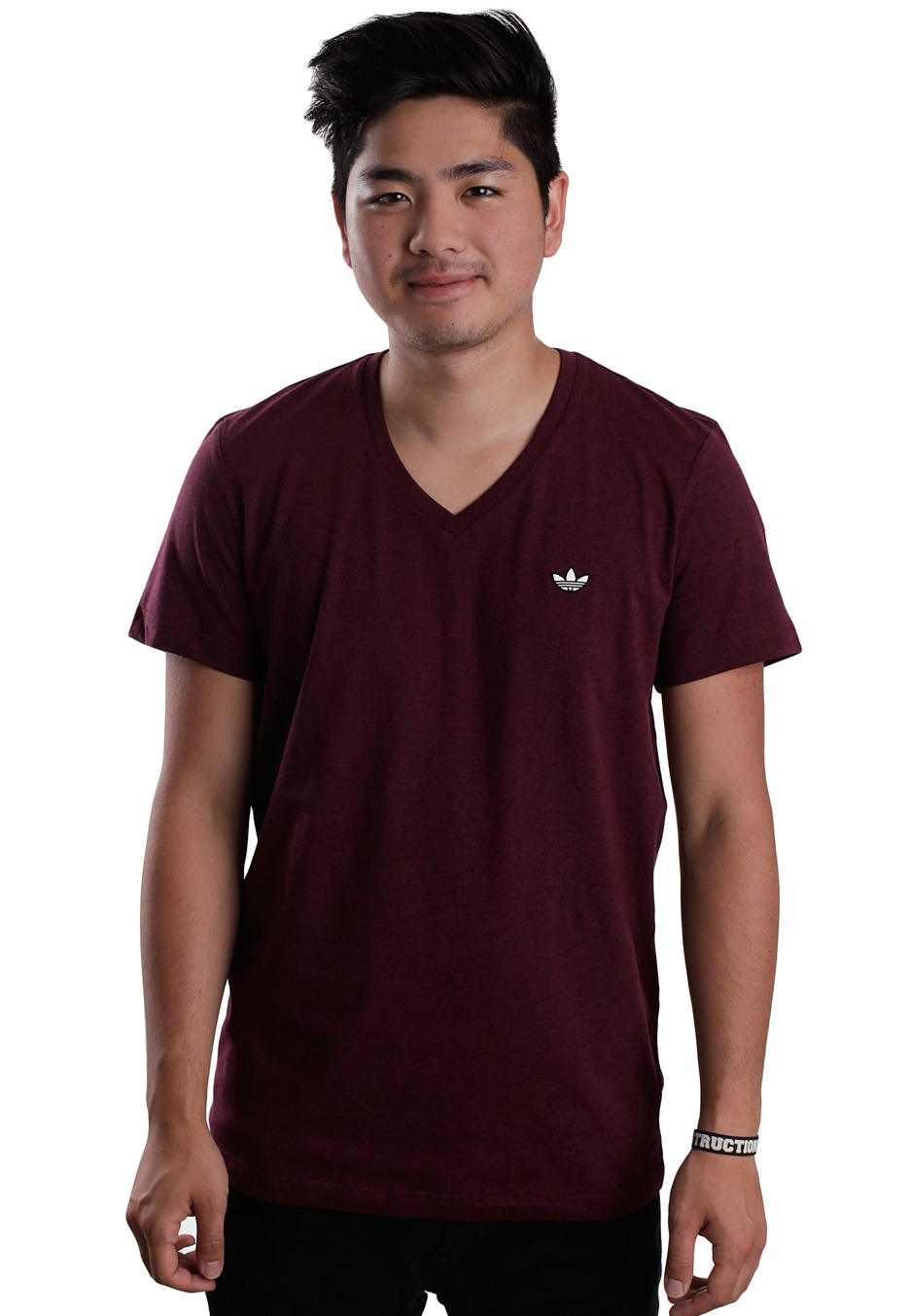 Neck Shirt Adidas Originals Heatherlight Maroon Colored T V CX0qXwng