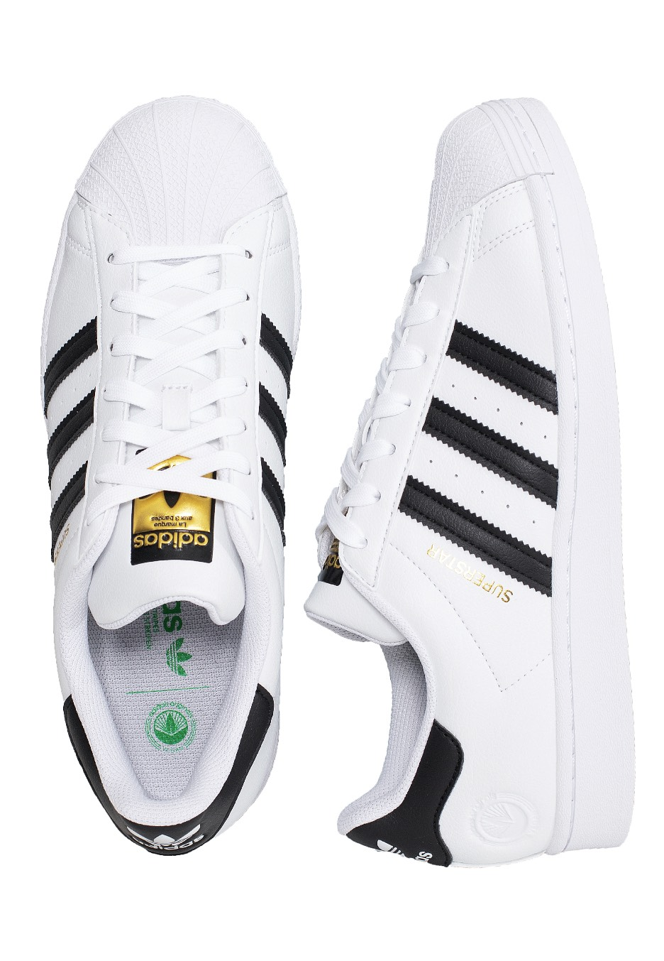Adidas - Superstar Vegan Ftwr White/Core Black/Green - Sneakers