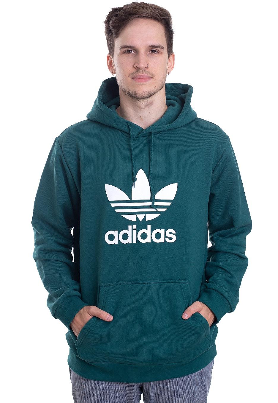 Adidas Trefoil Hoodie Noble GreenWhite Hoodie