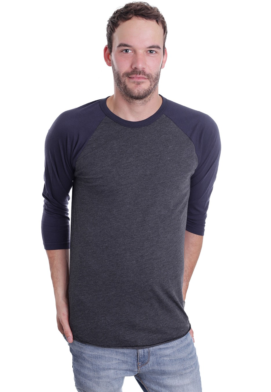 American Apparel - Raglan Heather Black/Navy - Longsleeve ...