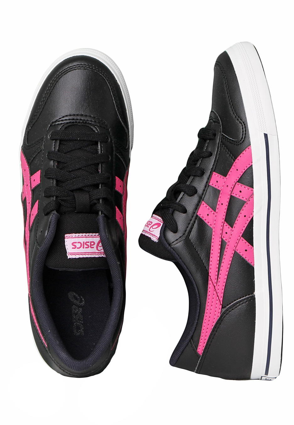 asics black and pink