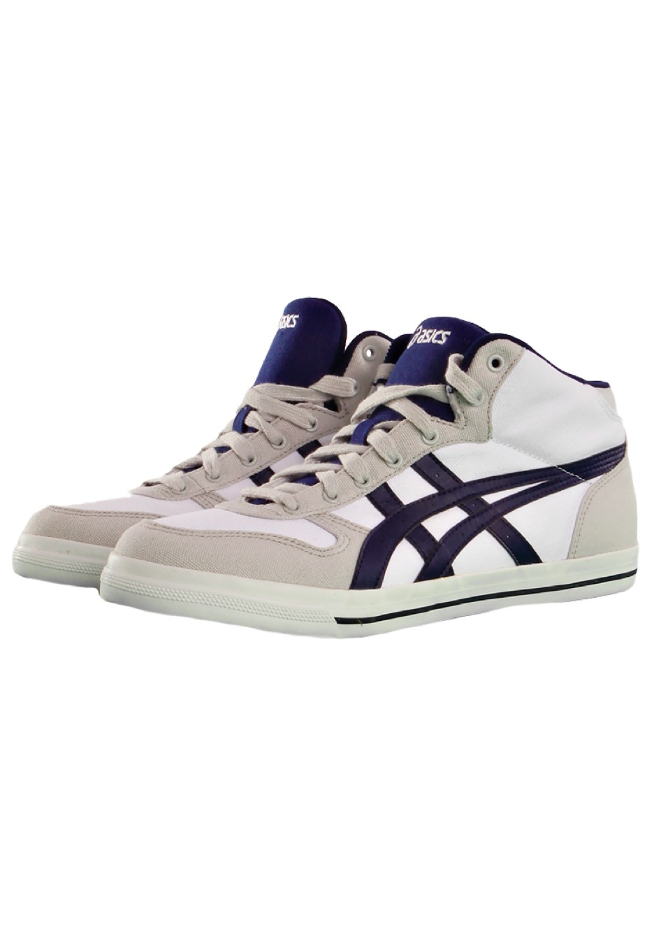 asics - aaron mt cv white  medieval blue - chaussures