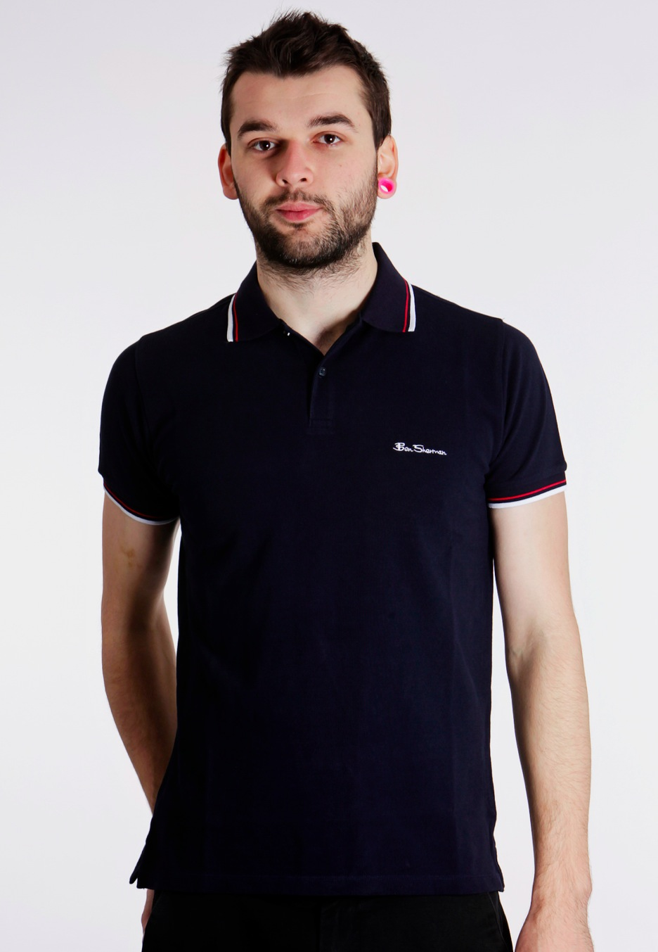 ben sherman romford tipped collar classic navy red white polo boys worldwide. Black Bedroom Furniture Sets. Home Design Ideas