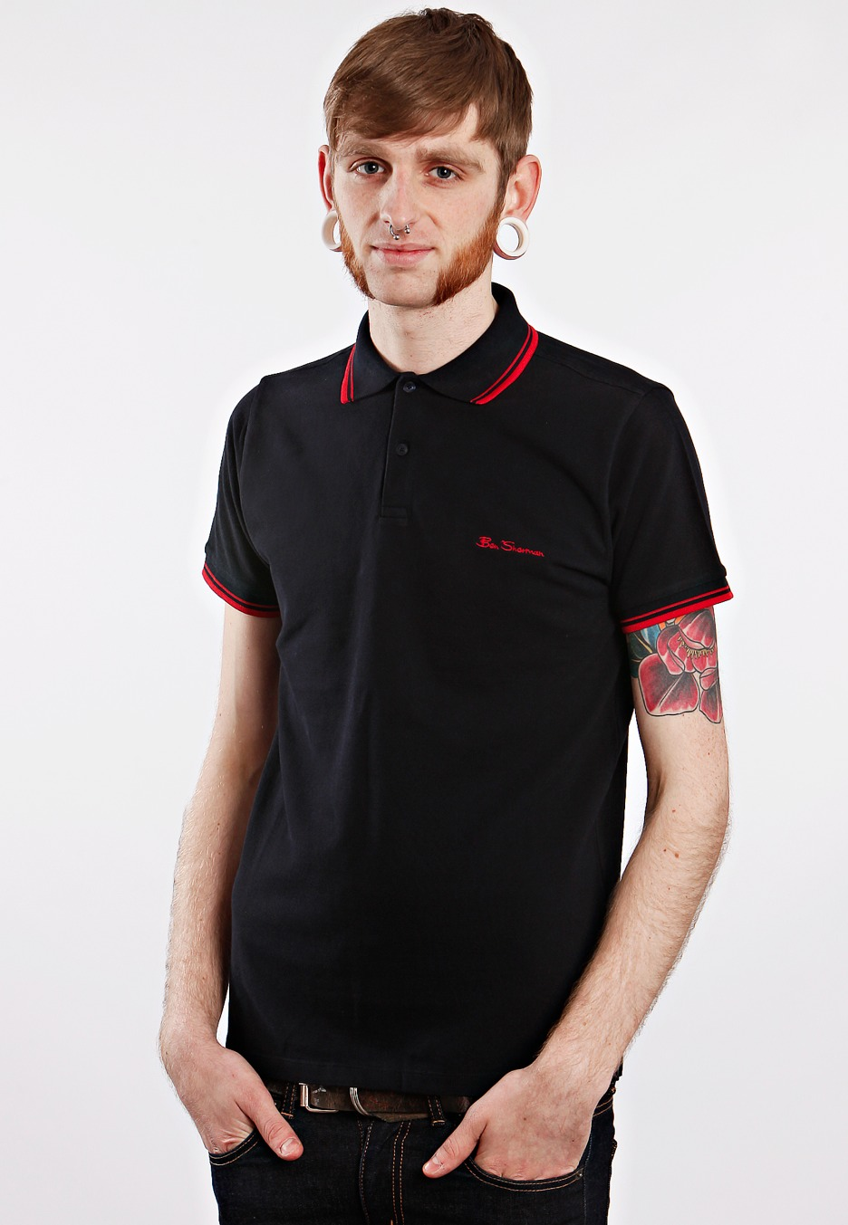 ben sherman romford tipped collar classic navy red red polo streetwear shop impericon. Black Bedroom Furniture Sets. Home Design Ideas