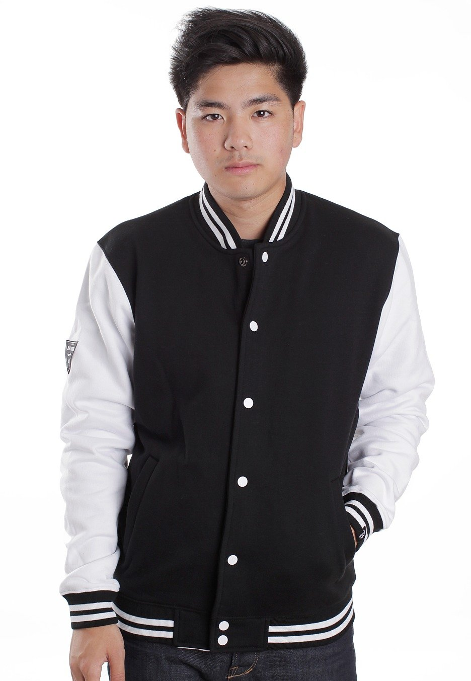 College jacket black and white