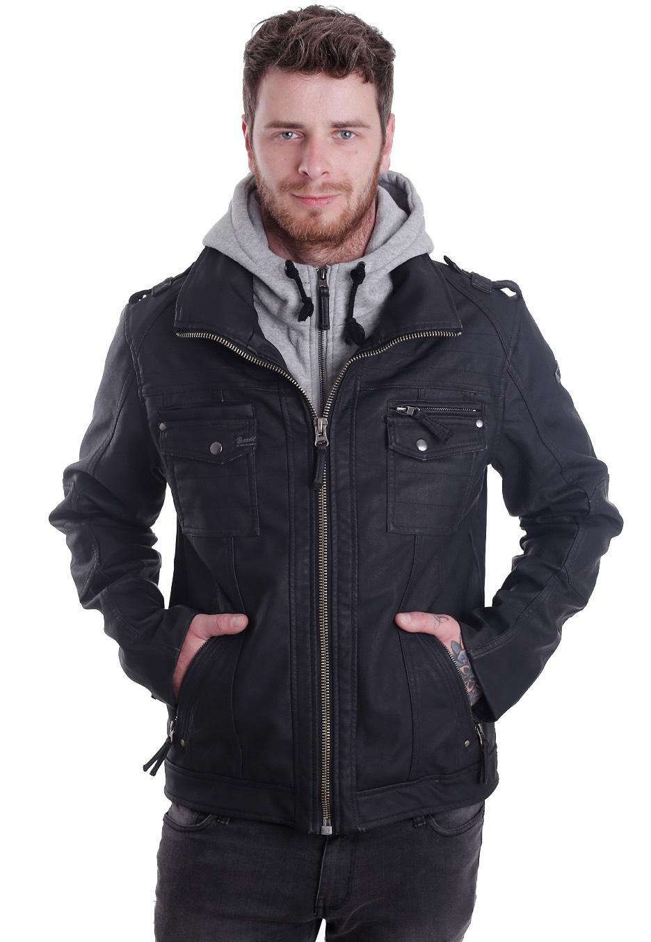 Brandit - Black Rock Grey - Leather Jacket - Streetwear Shop ...