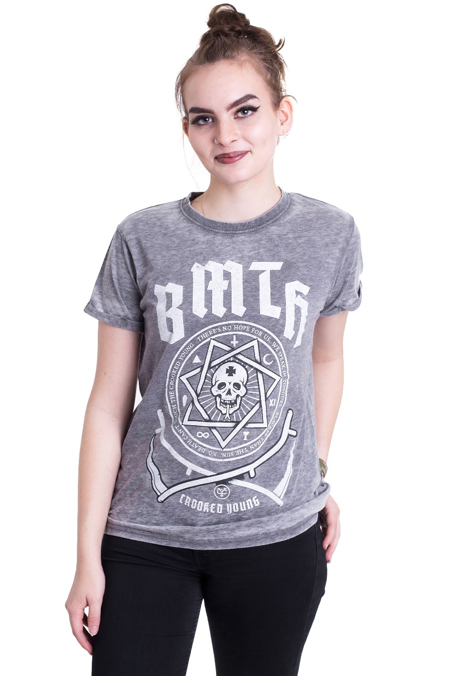 Burn Out Bring Me The Horizon Ladies Fashion T-Shirt Crooked Young