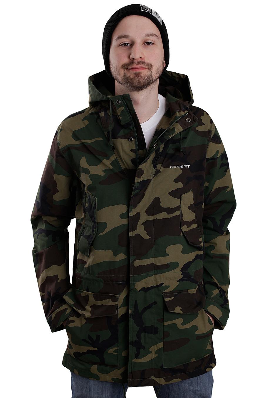 carhartt wip battle camo green rigid parka jacket. Black Bedroom Furniture Sets. Home Design Ideas