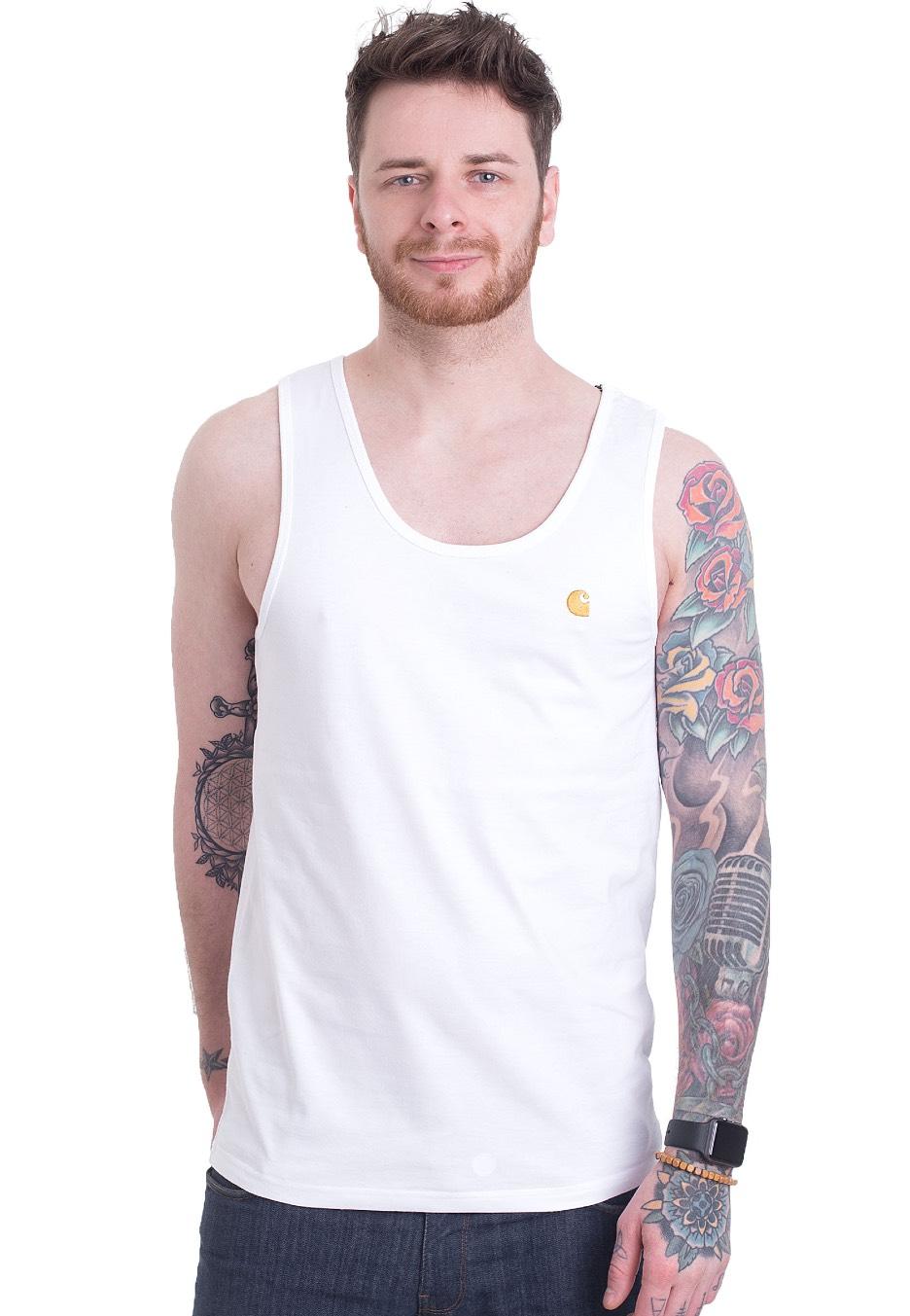 f28e57e1 Carhartt WIP - Chase A-Shirt White/Gold - Tank - Streetwear Shop -  Impericon.com UK