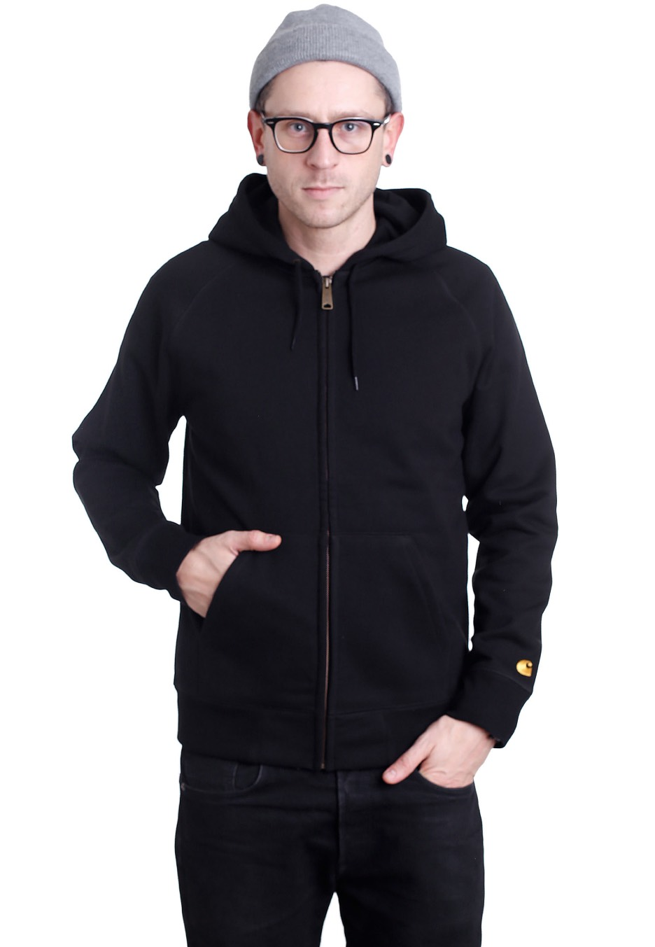 Carhartt WIP - Hooded Chase Black/Gold - Zipper