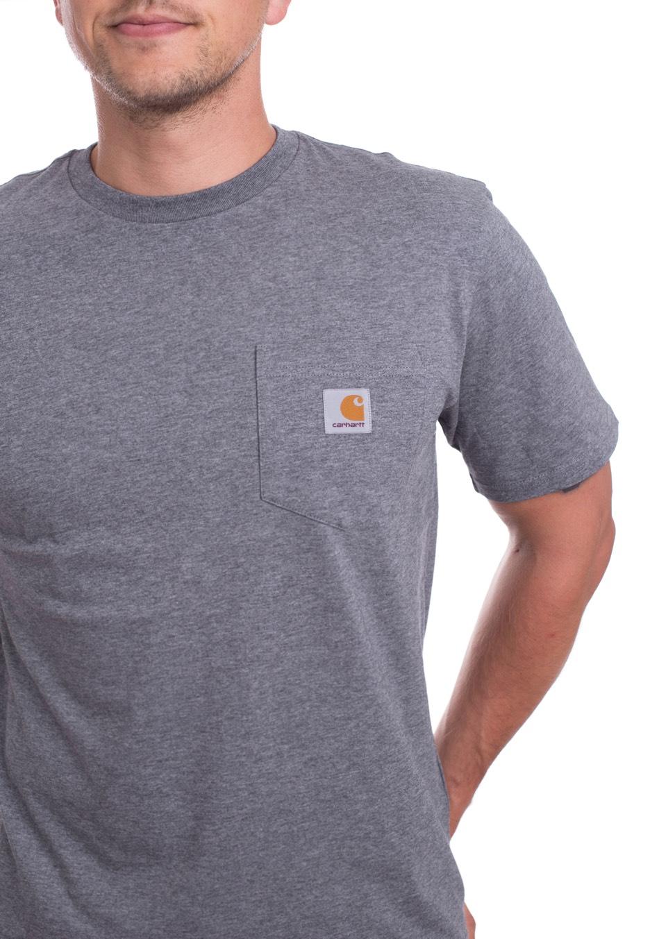 carhartt wip pocket dark grey heather t shirt streetwear shop