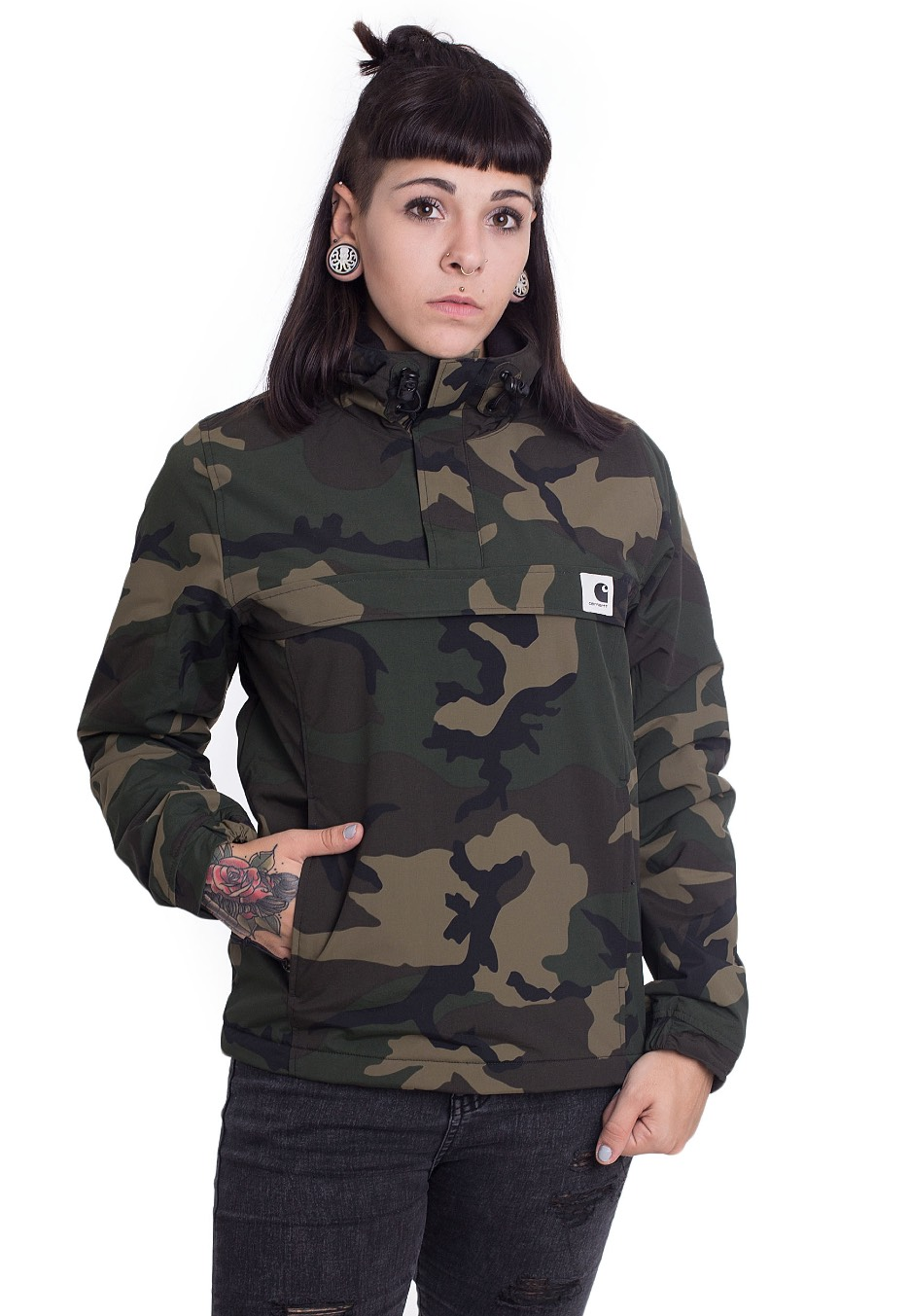 carhartt wip w 39 nimbus pullover camo combat green. Black Bedroom Furniture Sets. Home Design Ideas