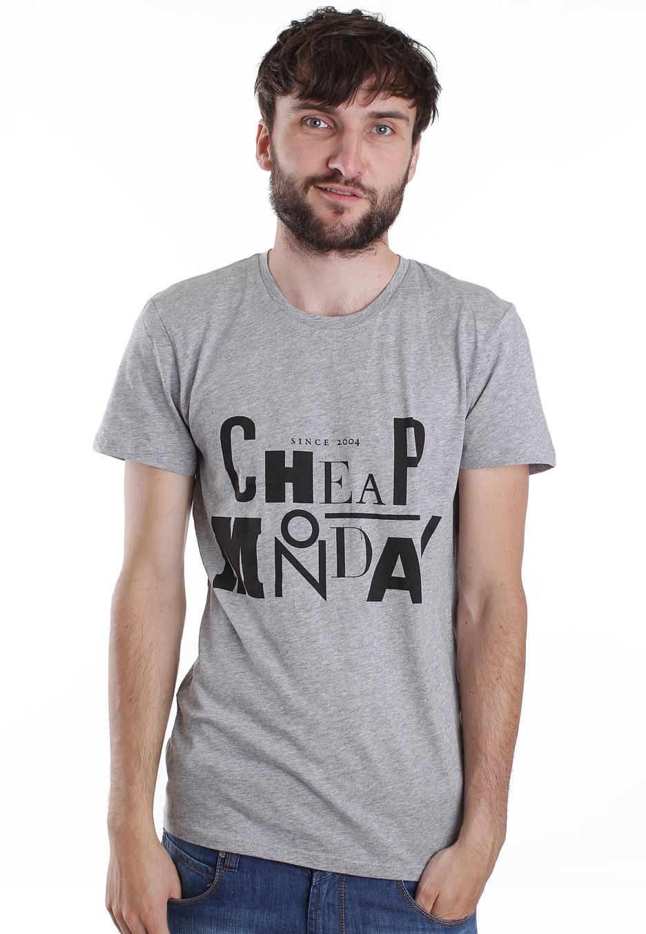 Cheap monday bruce printed mondaday grey melange t for Printed t shirt cheap