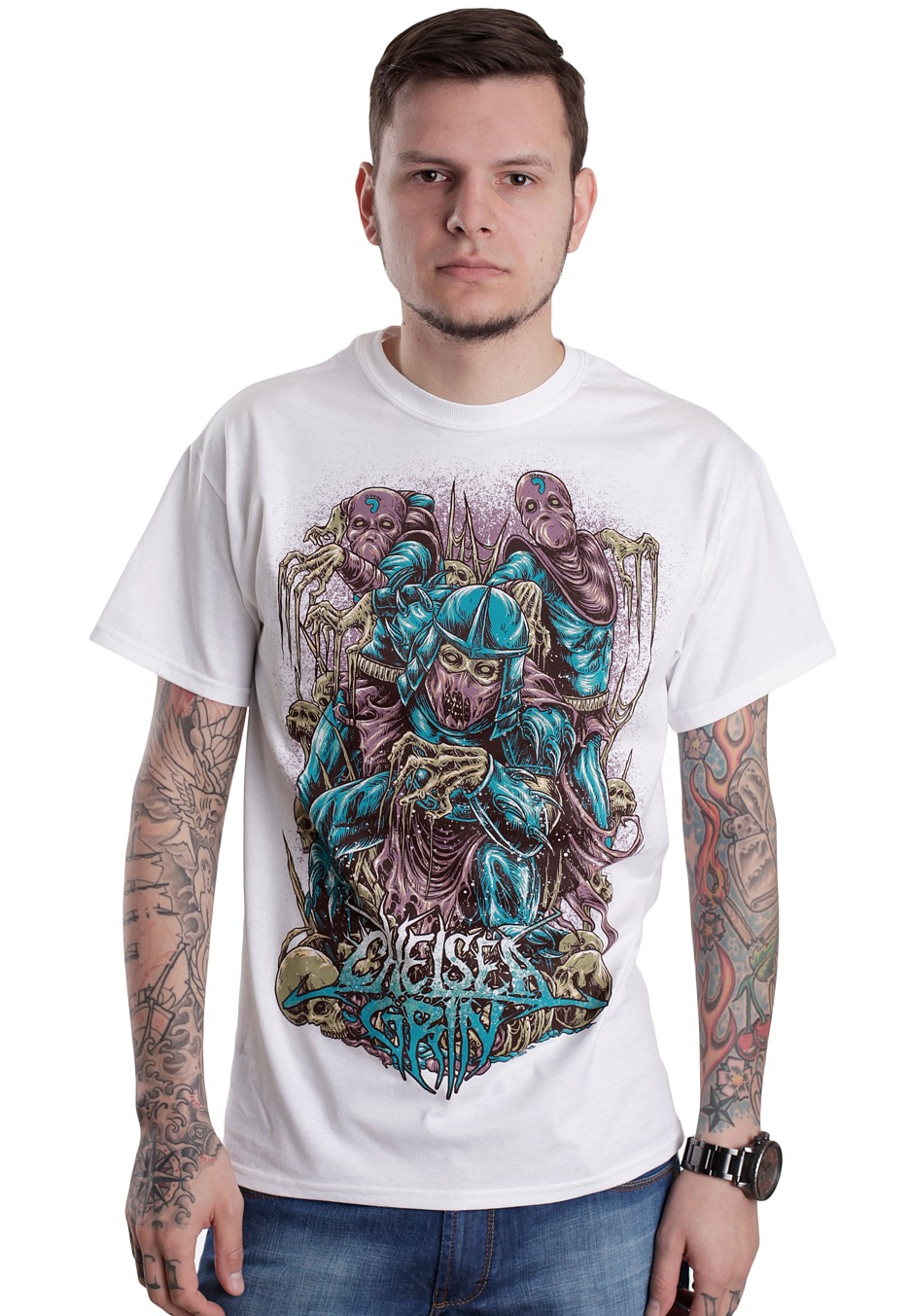 chelsea grin deathsquad white t shirt official metalcore merchandise worldwide. Black Bedroom Furniture Sets. Home Design Ideas