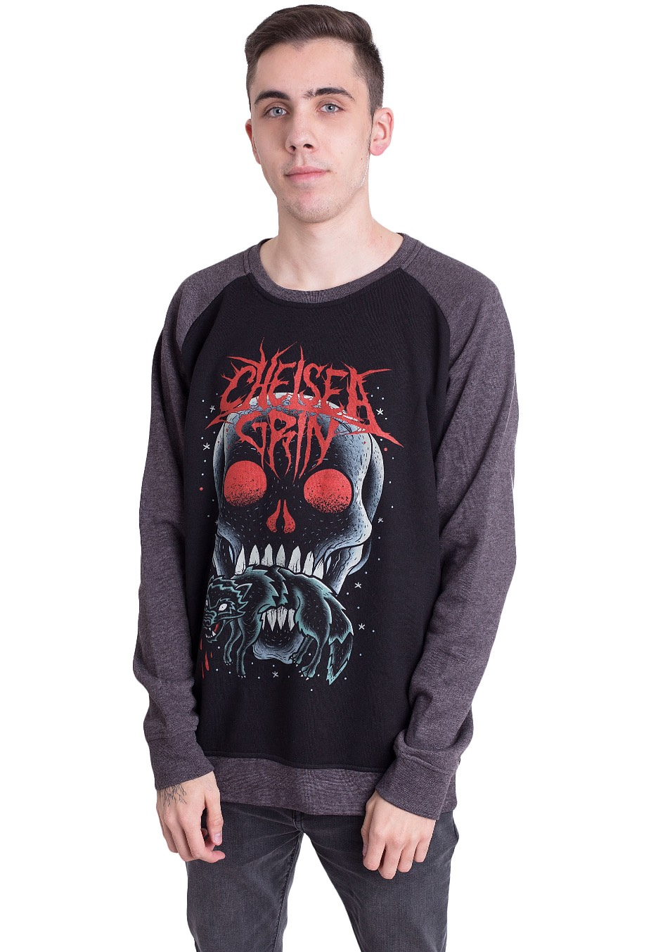 chelsea grin skull bite black charcoal sweater official deathcore merchandise impericon. Black Bedroom Furniture Sets. Home Design Ideas