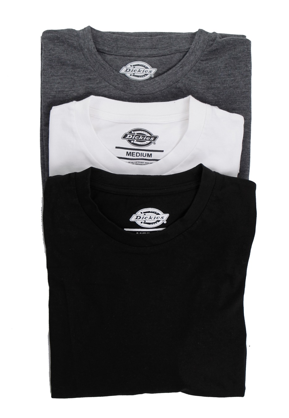 Dickies - Dickies Multi Color Pack Of 3 White/Grey/Black - T-Shirt ...