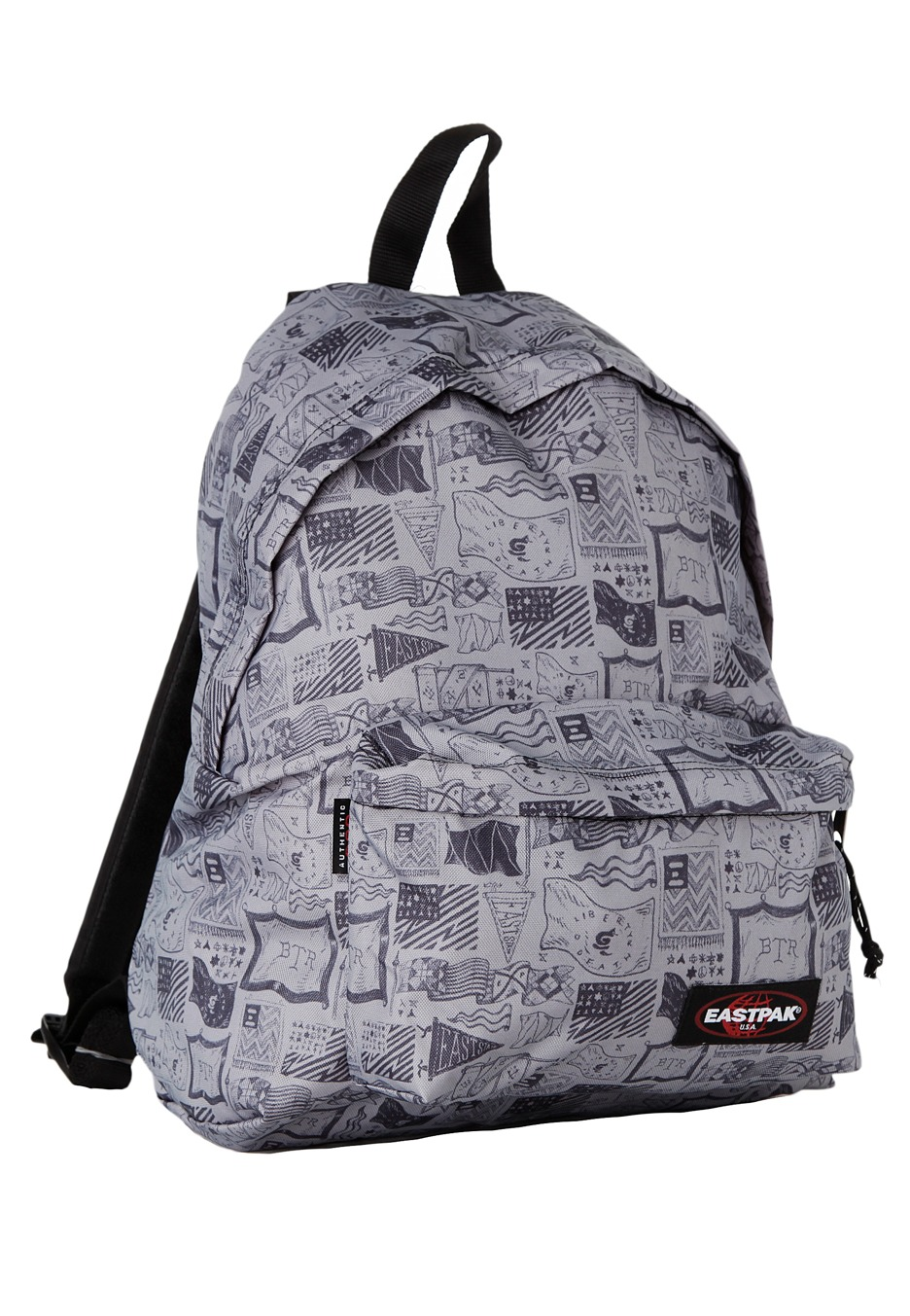 Eastpak Padded Pak R Leather Backpack In Black For Men: Padded Pak´r Sketched Flags