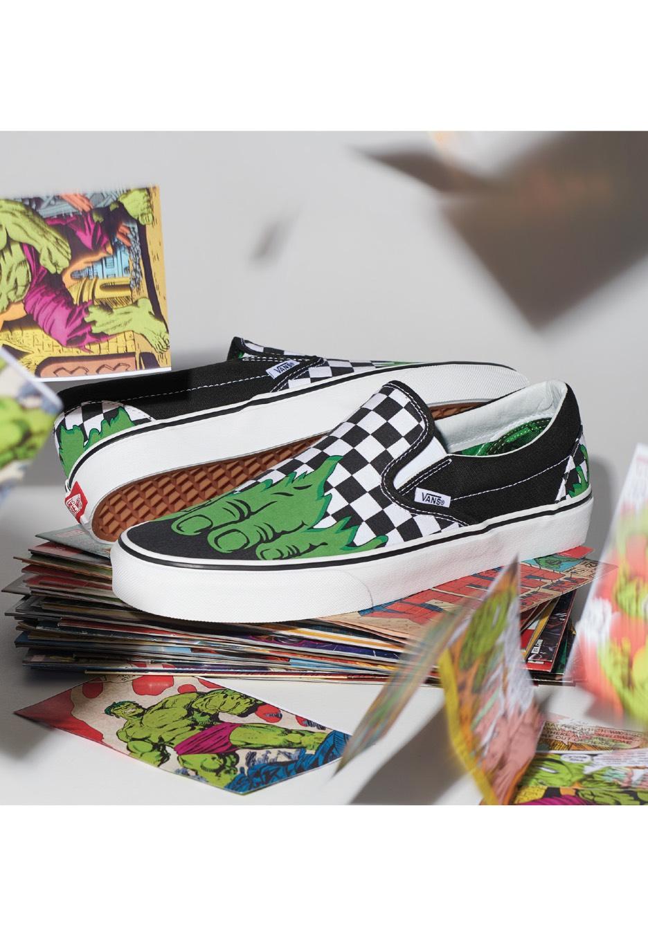 vans x marvel classic slip-on shoes
