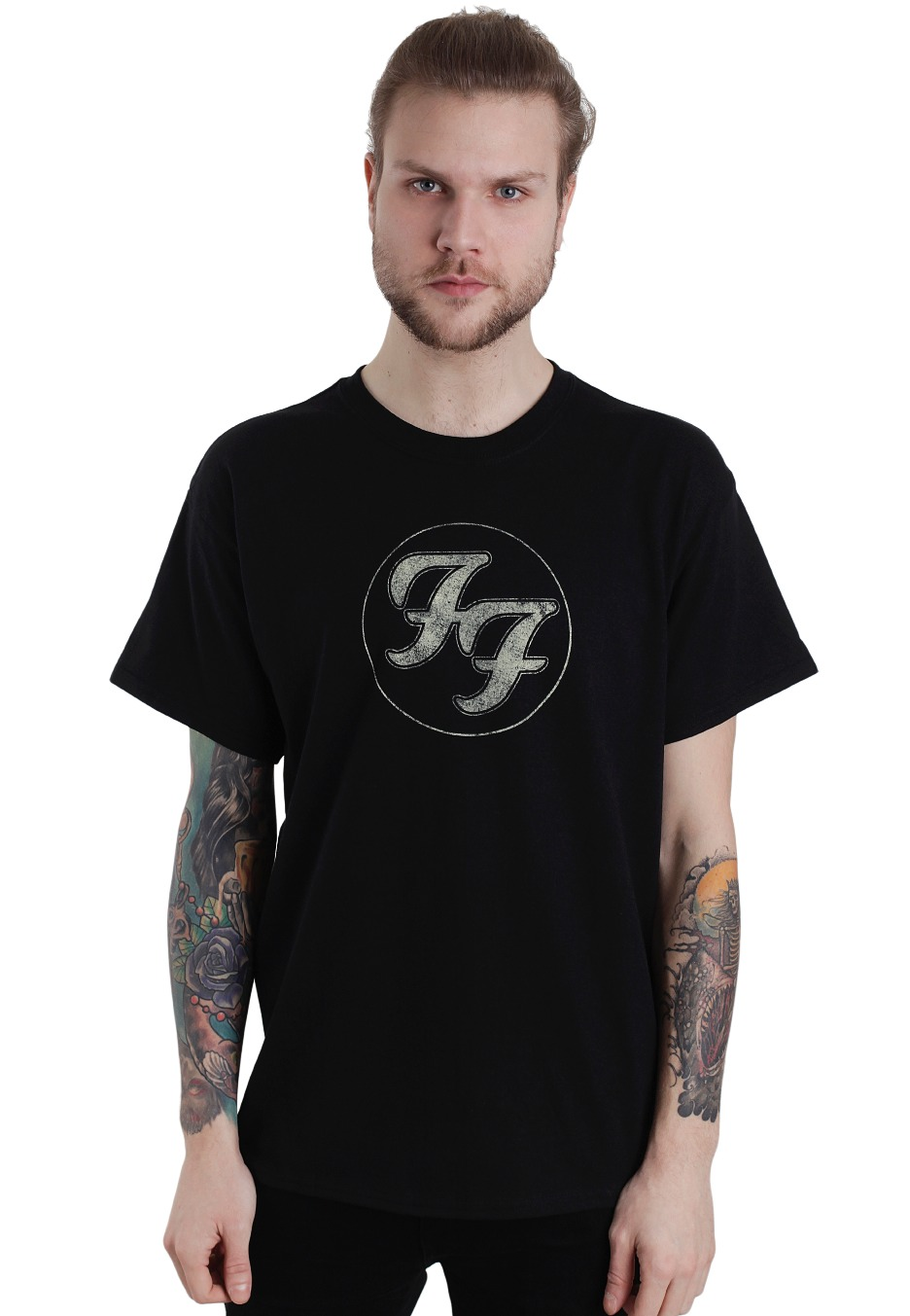 foo fighters logo in gold circle tshirt official