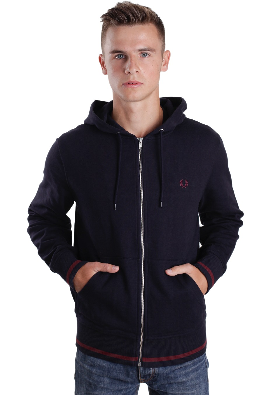 fred perry bold navy sweat zipp boutique streetwear fr. Black Bedroom Furniture Sets. Home Design Ideas