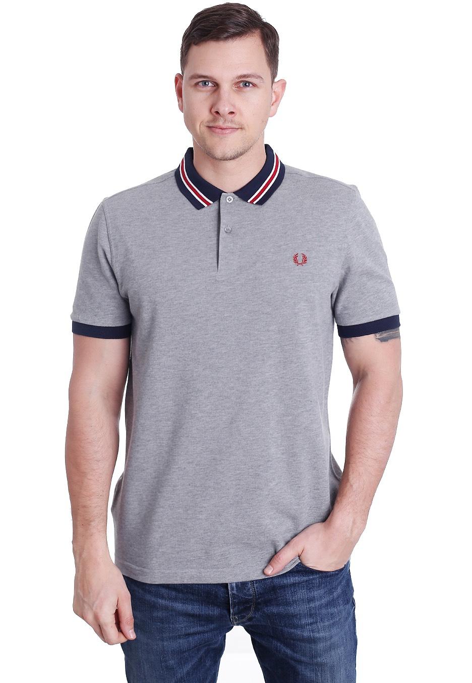 98ba630b4 Fred Perry - Bomber Stripe Collar Steel Marl - Polo - Streetwear ...