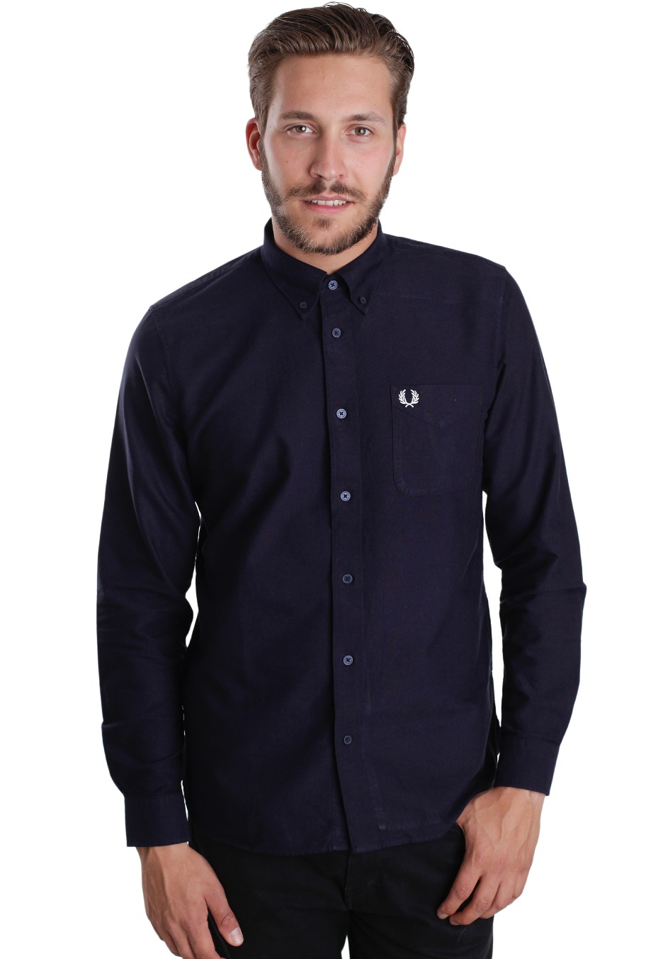 fred perry classic oxford l s navy hemd streetwear. Black Bedroom Furniture Sets. Home Design Ideas