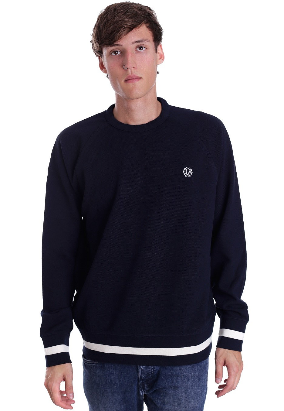 fred perry crew neck sweat navy pullover streetwear. Black Bedroom Furniture Sets. Home Design Ideas