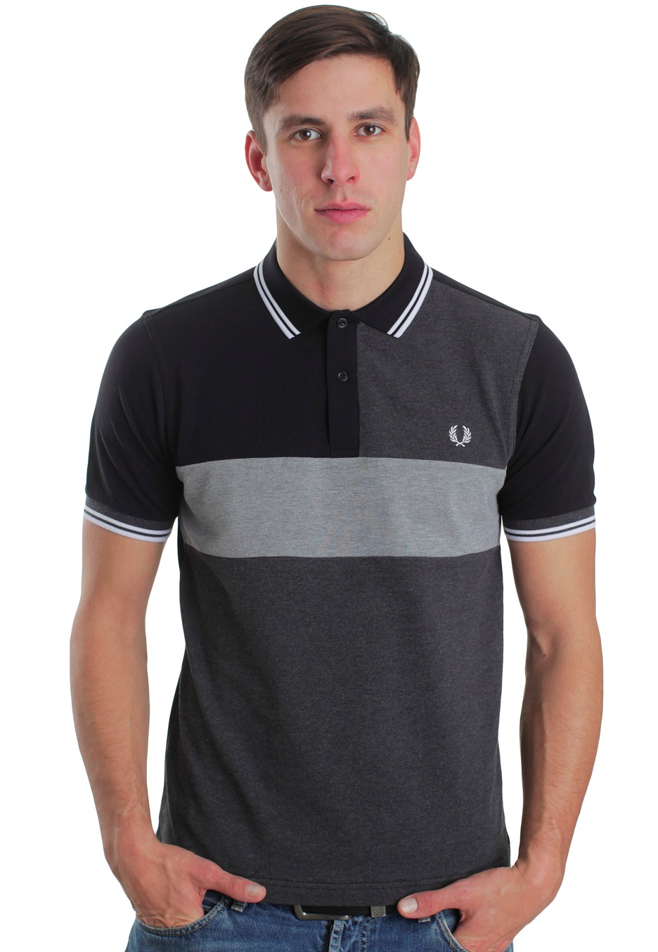 fred perry cut and sew black steel marl graphite marl polo streetwear shop. Black Bedroom Furniture Sets. Home Design Ideas