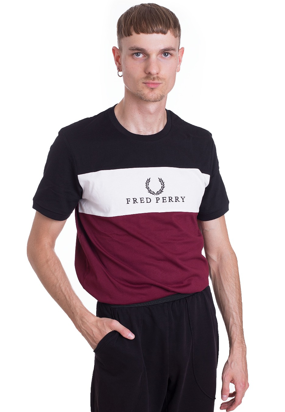 eb3ed807d364 Fred Perry - Embroidered Panel Tawny Port - T-Shirt - Streetwear Shop -  Impericon.com Worldwide
