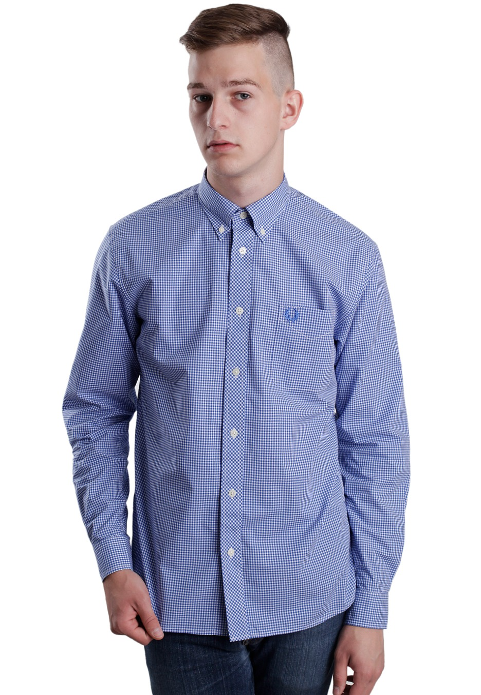 fred perry gingham l s olympian shirt streetwear. Black Bedroom Furniture Sets. Home Design Ideas