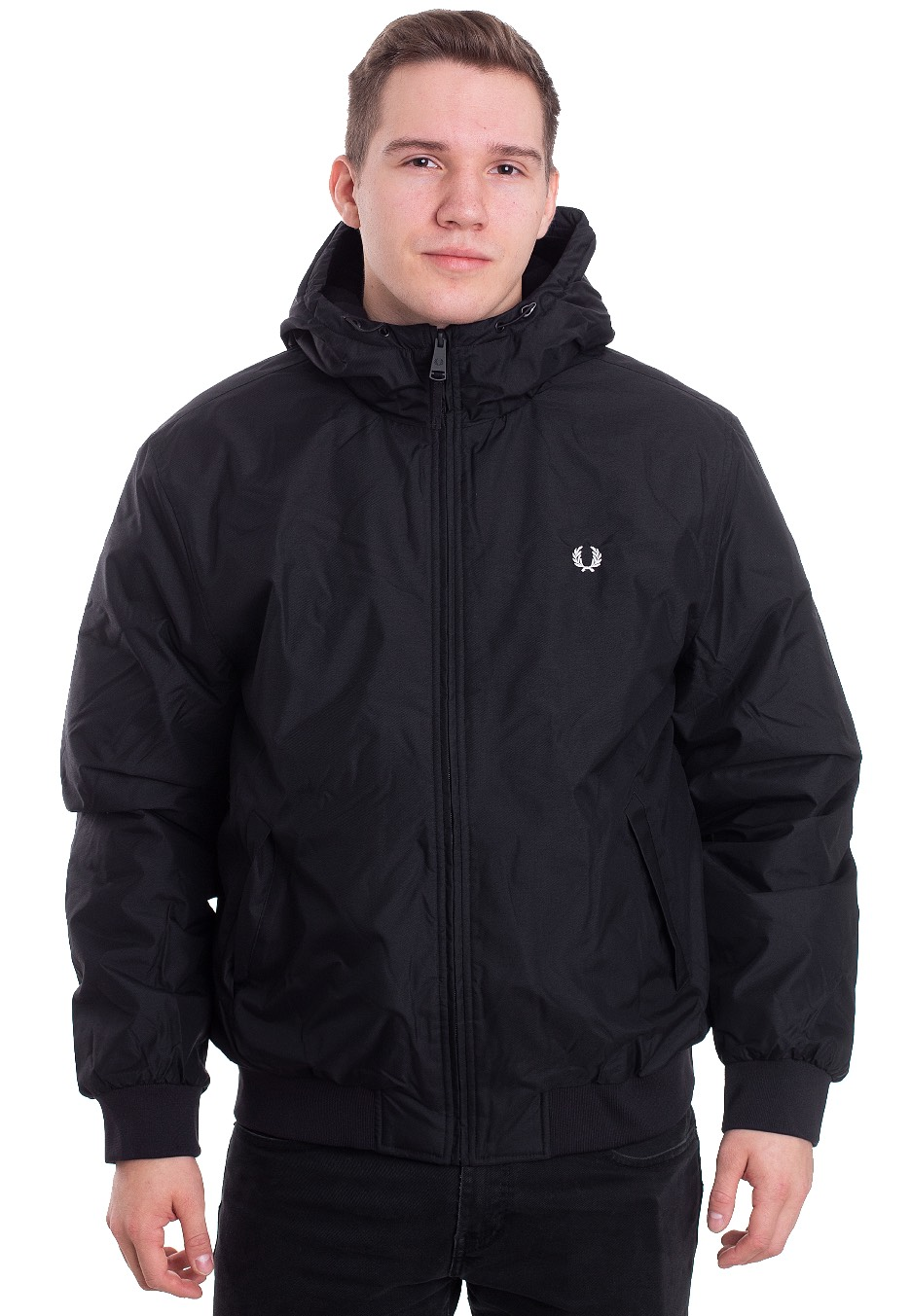 fred perry hooded brentham jacke mit kapuze schwarz