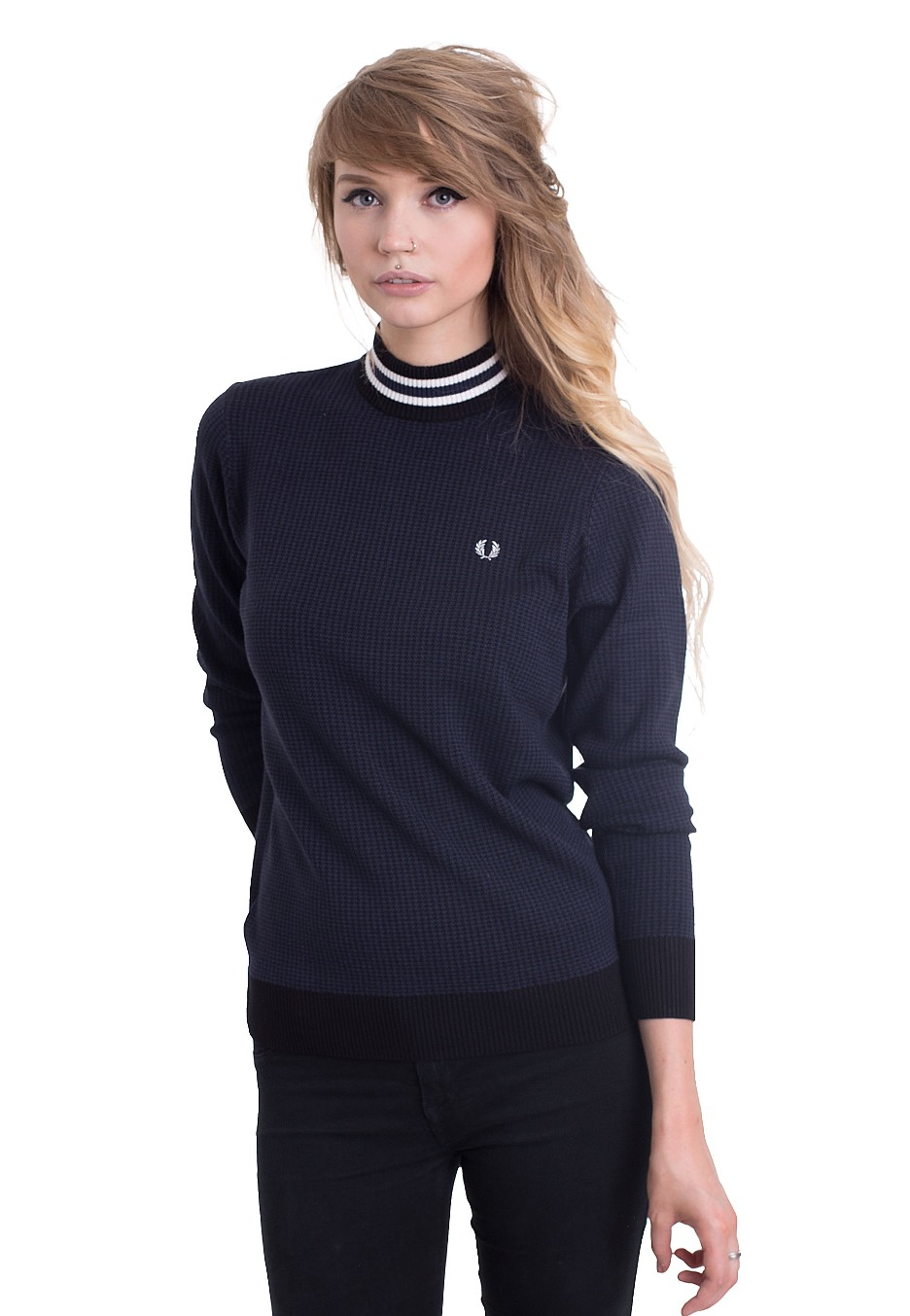 fred perry houndstooth turtle neck pullover streetwear shop worldwide. Black Bedroom Furniture Sets. Home Design Ideas