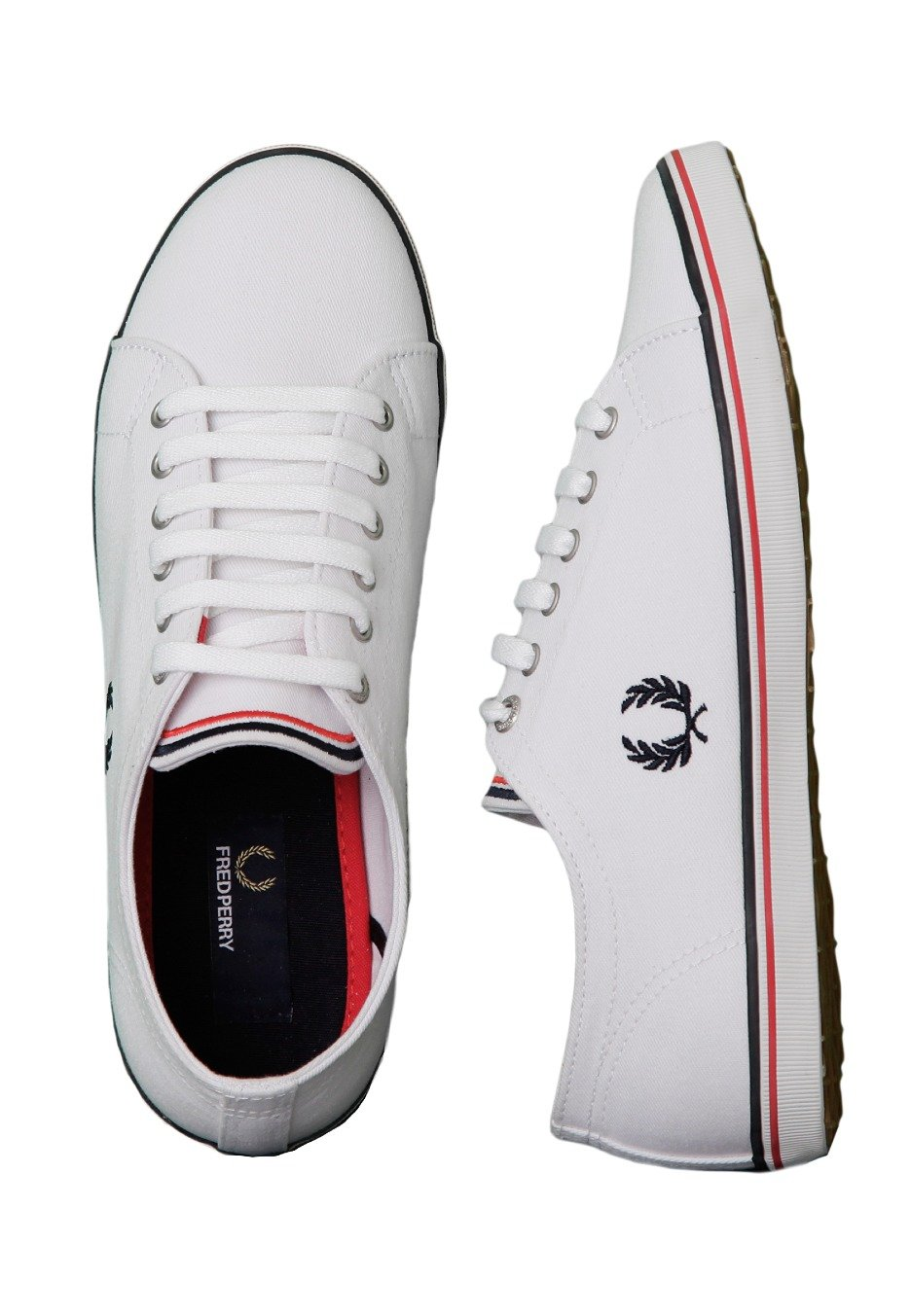 Fred Perry - Kingston Twill White Navy England Red - Girl Shoes -  Impericon.com AU cde7d83cfea