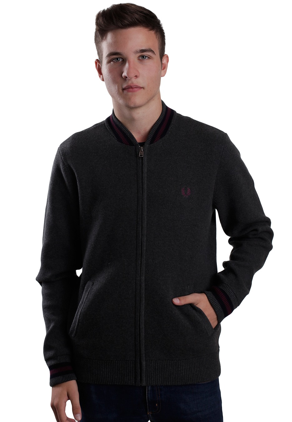 fred perry knitted bomber graphite marl college jacket streetwear shop. Black Bedroom Furniture Sets. Home Design Ideas