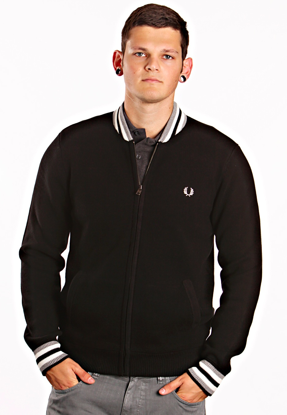 fred perry knitted bomber jacket streetwear shop worldwide. Black Bedroom Furniture Sets. Home Design Ideas