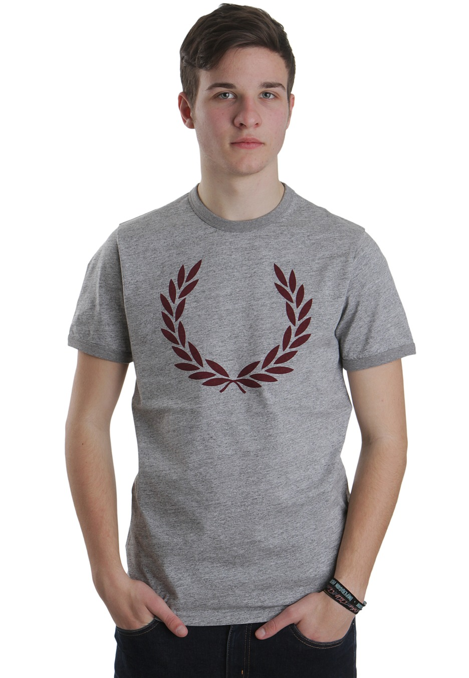 fred perry laurel print vintage steel marl t shirt streetwear shop worldwide. Black Bedroom Furniture Sets. Home Design Ideas