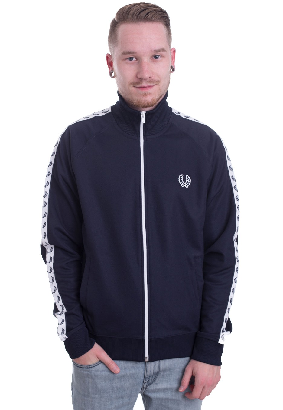 662a89d22 Fred Perry - Laurel Wreath Taped Carbon Blue - Track Jacket - Streetwear  Shop - Impericon.com US