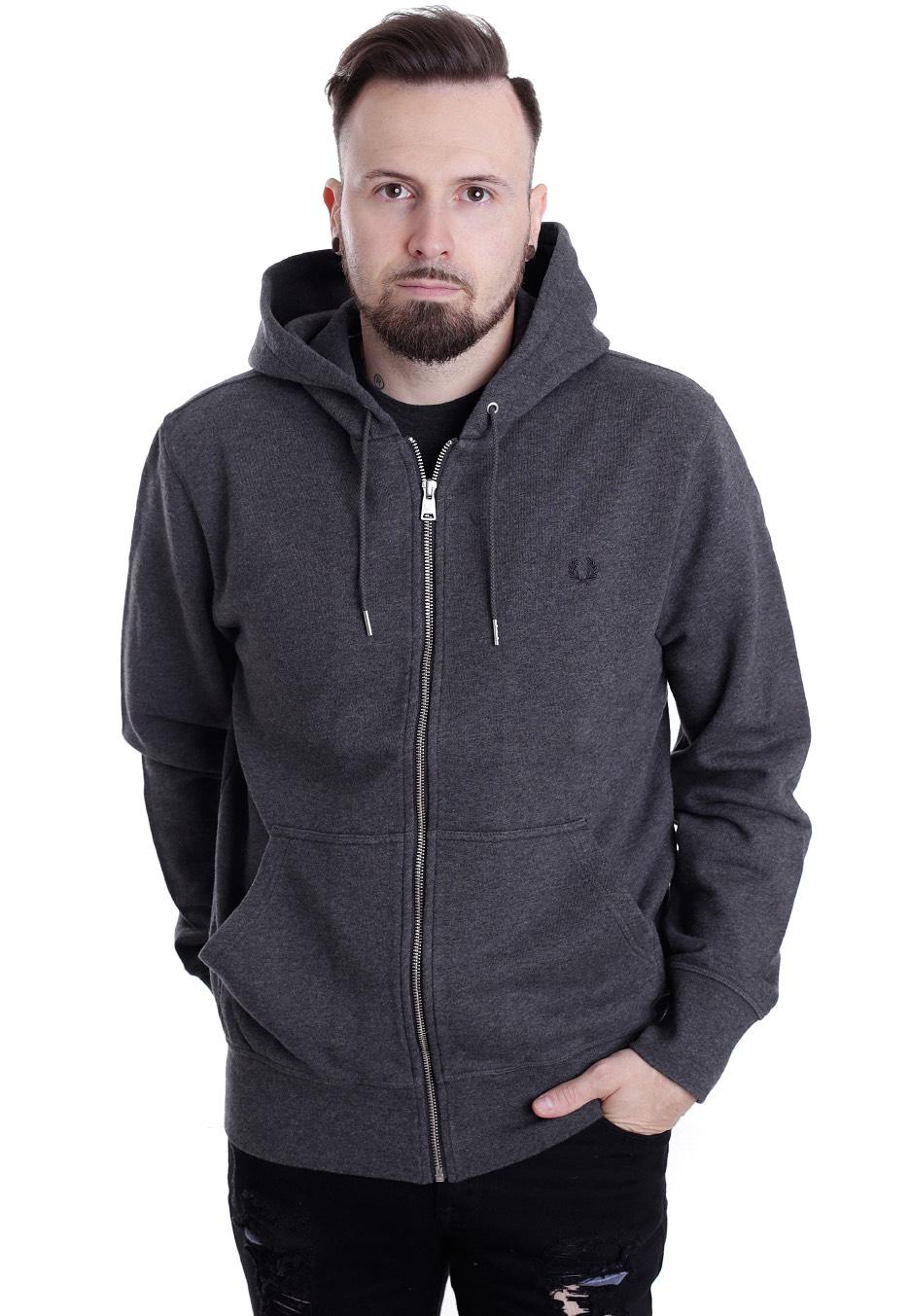 fred perry loopback hooded sweat graphite marl zipper streetwear shop