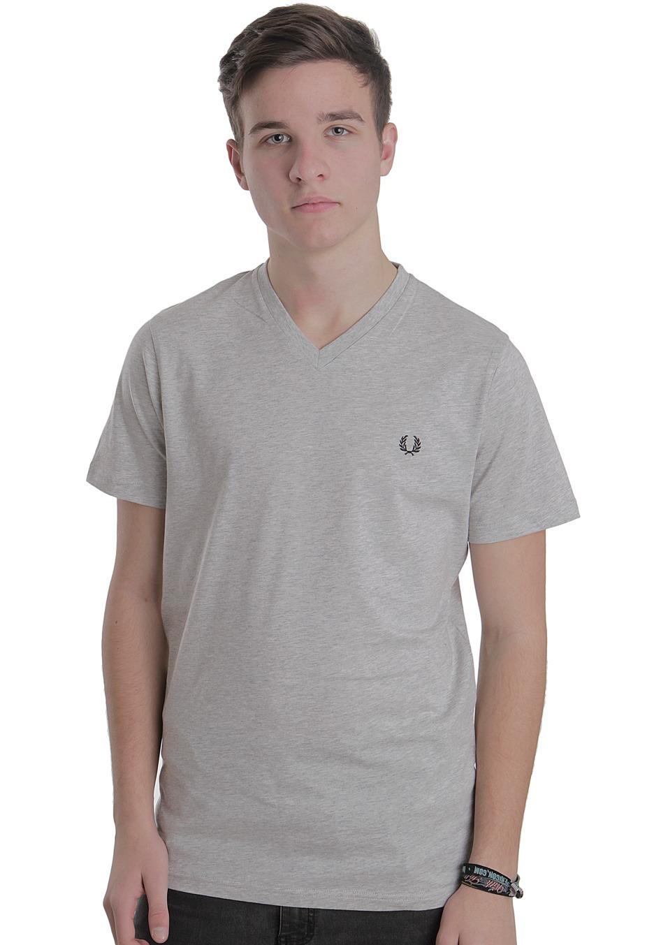 08138b68 Fred Perry - Plain Marl Grey - V Neck T-Shirt - Streetwear Shop -  Impericon.com Worldwide