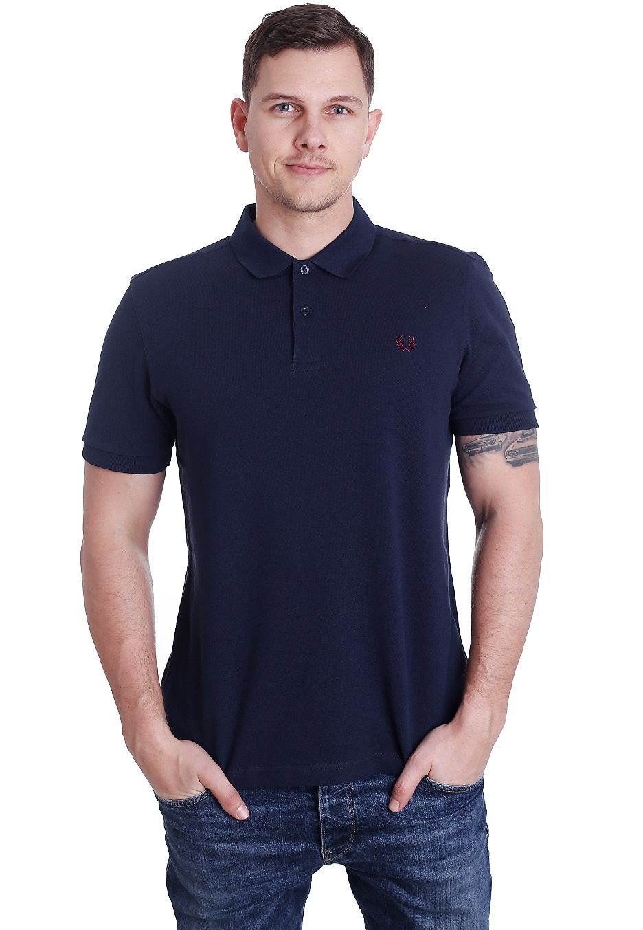 fred perry plain fred perry carbon blue polo. Black Bedroom Furniture Sets. Home Design Ideas