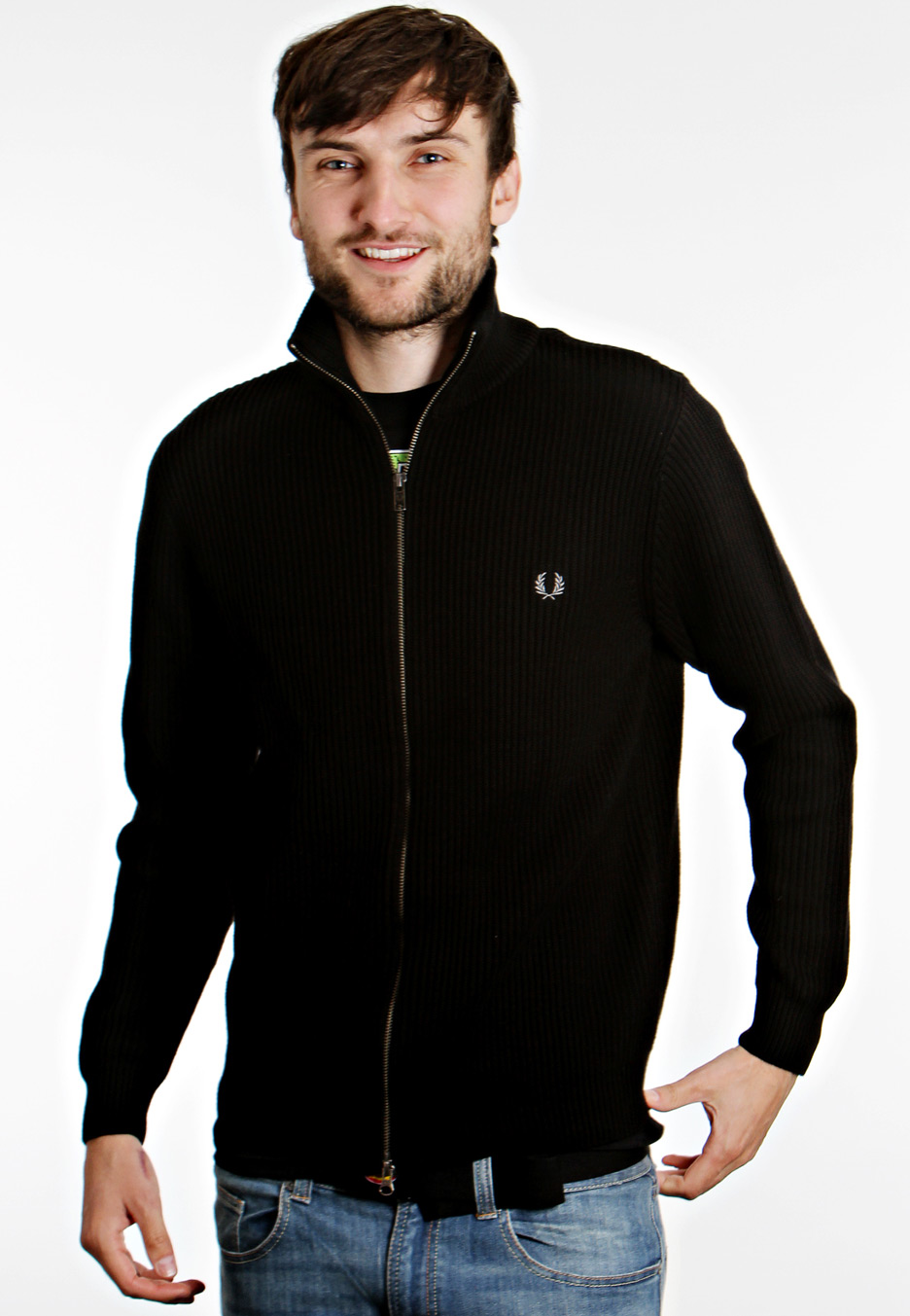 fred perry ribbed zip through jacket streetwear shop worldwide. Black Bedroom Furniture Sets. Home Design Ideas