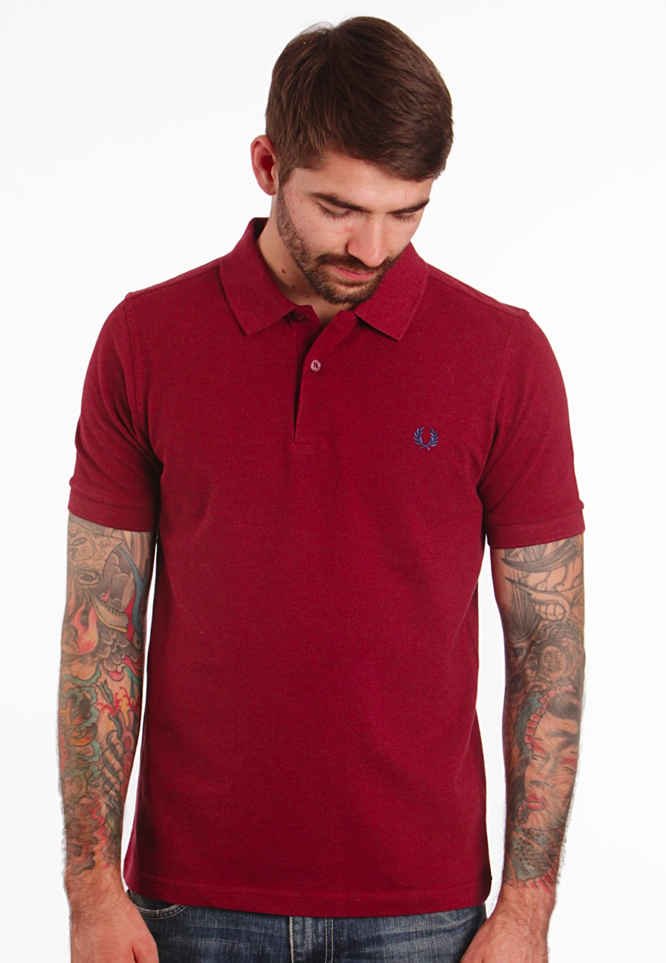 fred perry slim fit maroon marl polo streetwear shop worldwide. Black Bedroom Furniture Sets. Home Design Ideas