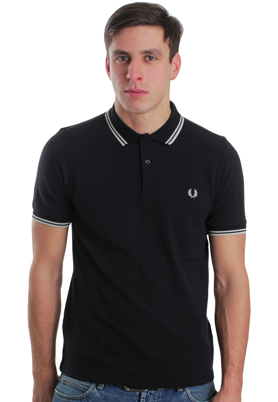 fred perry slim fit twin tipped black porcelain porcelain polo streetwear shop impericon. Black Bedroom Furniture Sets. Home Design Ideas