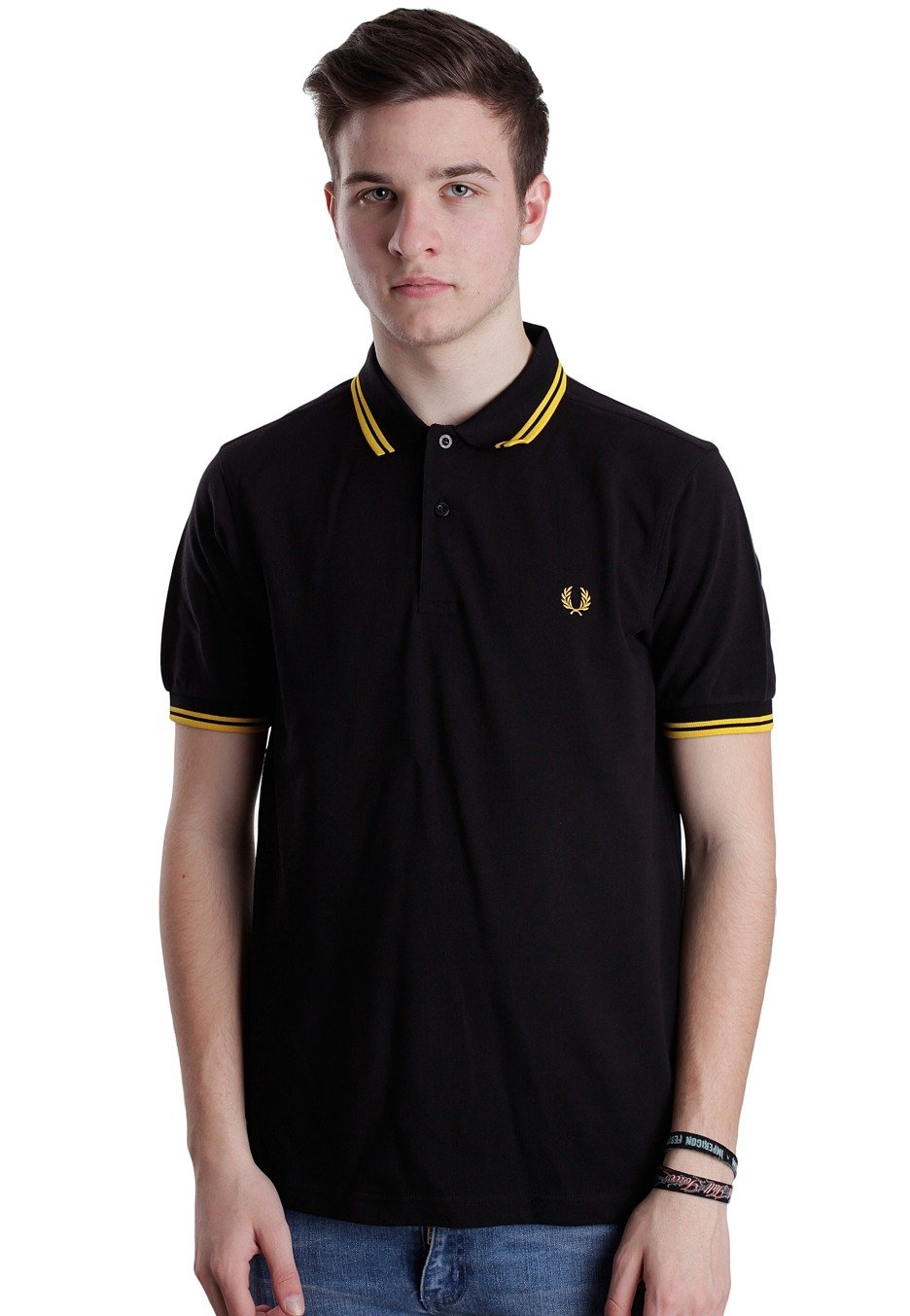 488e00150 Fred Perry - Slim Fit Twin Tipped Black/New Yellow - Polo - Streetwear Shop  - Impericon.com Worldwide